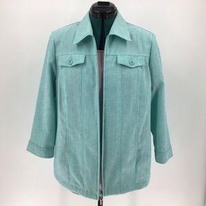 Alia Zipper Front Mint Green 3/4 Sleeve Blazer, 8